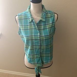 LARGE Blue/Green Express Plaid Cropped Top